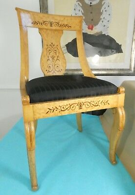 Magnificent Pair Cherry Wood Biedermeier Style Chairs Inlaid Decoration Ca 1900