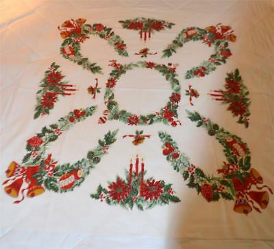 nice vintage christmas tablecloth candles bells pine cones red green white