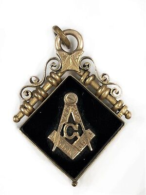 Antique Masonic 10K Gold And Onyx Watch Fob Locket