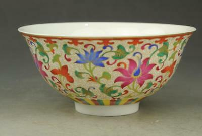 Chinese old  famille rose porcelain flower pattern bowl / qianlong mark b01