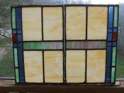 Pair of Antique Vintage Leaded Stained Glass Windows Slag  Arts & Crafts Salvage