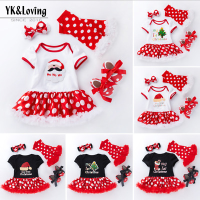 Hot Sale Christmas Tree Santa Jumpsuit Girls Tutu Outfit Baby Dress Clothes Sets