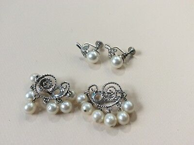 Vintage Pearl & Rhinestone Earrings Clip On & Screw Back - Lot of 2