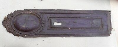 Antique Ornate Pressed Brass/tin  Door Finger Push Plate  with keyhole Victorian