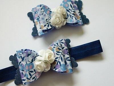 HANDMADE Girls Blue Liberty Fabric Hair Bow Wool Felt Bow Hair Clip Headband