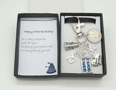 70Th Birthday Gift Dr Who Keyring 1948 Sixpence Mens Tbox Christmas