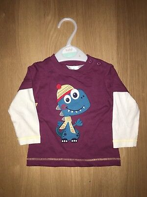 M&co Boy Dinosuar Mock 2 In 1 Top Burgandy 3-6 Months New With Tag