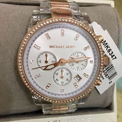 839ec86451ff New Michael Kors MK6347 Ritz Rose Gold Clear Acetate Chrono Ladies Watch