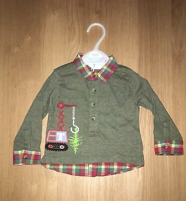 M&co Boy Mock Shirt Khaki 9-12 Months New With Tags