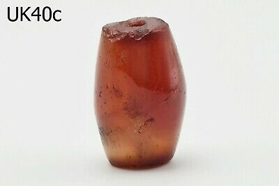 Ancient Natural Carnelian Agate Carved Bicone Bead Yemen Afghani #UK40