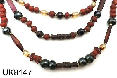 Ancient Wood & Natural Agate Crystal Stone Bead Carved Tibet Mala Strand #8147