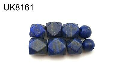 Lot 8 Ancient Style Lapis Lazuli w/Pyrite Carved Faceted Ball Bead #8161