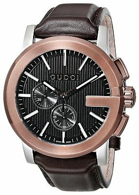 New Gucci G-Chrono Chronograph Rose Gold Brown Leather YA101202 Mens Watch