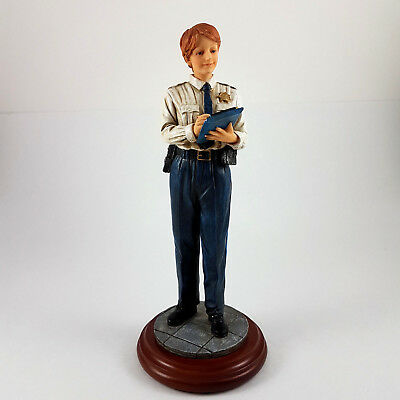 """Vanmark Blue Hats Of Bravery 9"""" Police Woman Statue Figurine - Paper Detail 1998"""