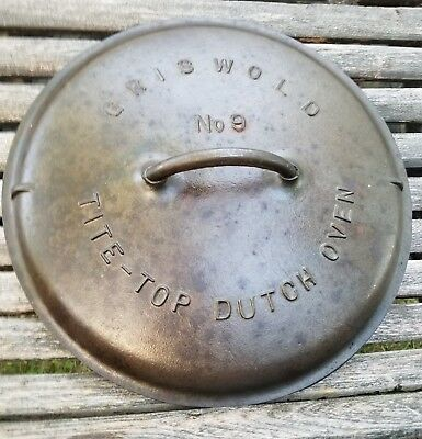 1920 Griswold #9 Tite-Top Dutch Oven Cast Iron Cover Block Logo Lid Excellent