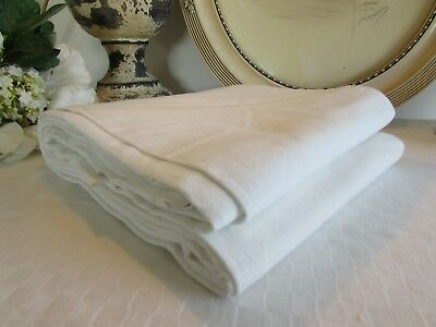 Antique French Old Beautiful Metis Large Linen Sheet.