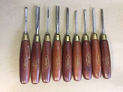Vintage Marples Wood Carving Tools Gouges 9 pieces