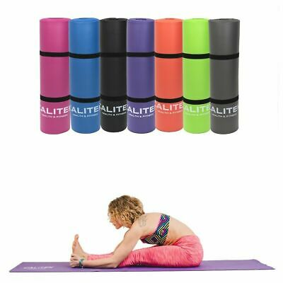 Calitek Yoga and Pilates Exercise Gym Mat, 10mm NBR Foam with Carry Strap