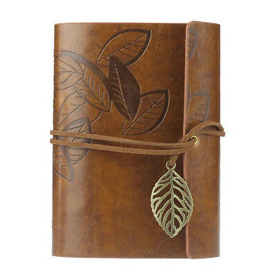 Leather Cover Notebook Vintage Loose Leaf Blank Journal Retro Writing Diary