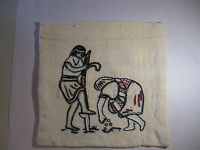 Peruvian Throw Pillow, Hand Embroidered Inka Couple Planting Wool Vintage