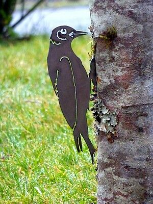Cut Metal Rusty Woodpecker Bird Garden Home Yard Outdoor Lawn Fence Art Decor