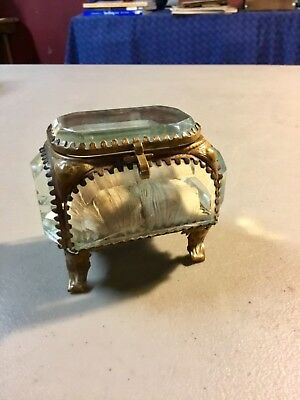 Antique Art Deco Jewelry Casket With Beveled Glass +  Brass Filigree, VERY COOL!