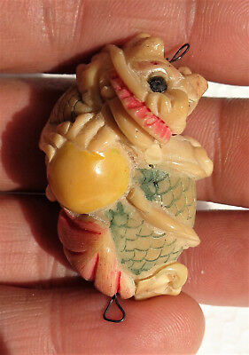 GIAPPONE (Japan): Old Japanese carved & painted bone netsuke (dragon) - signed