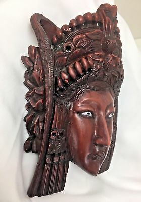 Vintage Wall Hanging Wood ART Hand Carved Asian Mask Rosewood Headdress RARE