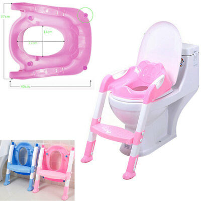Trainer Toilet Potty Seat Chair Kids Toddler w/ Ladder Step Up Training Stool US