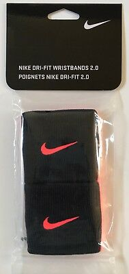 Nike DRI-FIT Wristbands 2.0 Tennis Premier Half & Half Black/Hot Lava/Lava