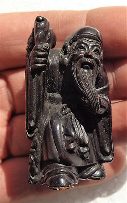 GIAPPONE (Japan): Old Japanese carved wood netsuke (Chinese old man) - signed