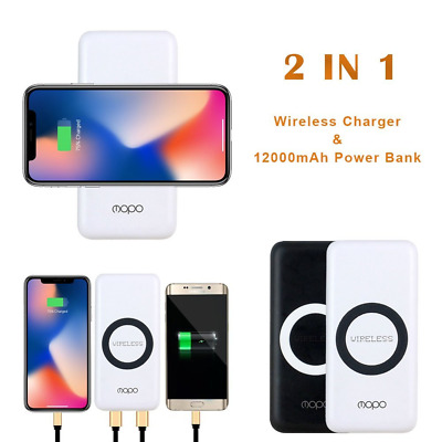 12000mAh QI Wired Wireless Charger Power Bank Battery 2 in 1 for Iphone8/Samsung