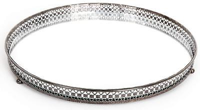 Mirror Glass Metal Antique Decorative Silver Candle Plate Display Tray 25cm New