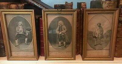 """3 Framed 18th century Engraved Prints of Actors From """"Bell's British Theatre"""""""