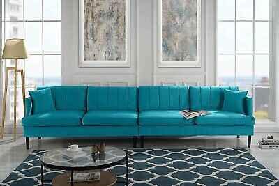 Mid Century Extra Large Velvet Sofa 4 Seater Living Room Couch, Wood Frame Blue