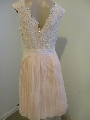 d419d74c5 TED BAKER ~FAYBLL~ Dress UK 10 2 ~Wedding~ Blush Pink Pleated Lace ...