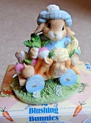 Enesco 1995 My Blushing Bunnies Figurine An Abundance of Blessings NIB 157015