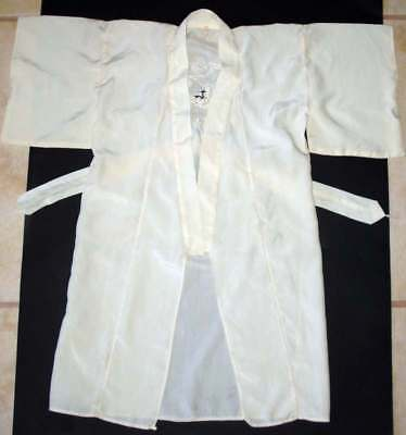 Vintage Asian Silk Baby Kimono Robe with Embroidery Ivory Size 26
