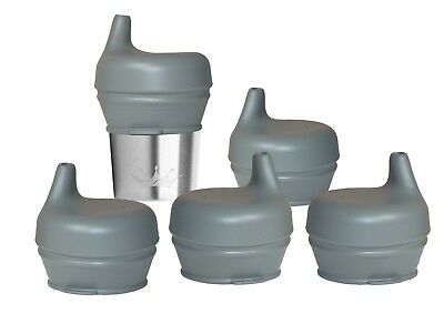 Silicone Sippy Lids - 5 Pack -Turn Any Cup Into A Spill-Proof Sippy Cup - Gray
