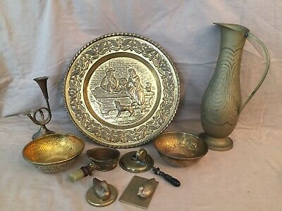 Lot of Vintage Old Brass Collectibles 9 Pcs Pitcher Charger Plates Bowls Ducks