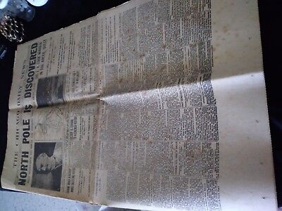 collectable newspaper headlines-north pole discovered-titanic-lindbergh-war-