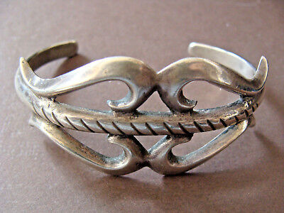 """Fine Old Pawn Coin Sterling Silver 1.1"""" W. Navajo Antique Cuff Bracelet"""