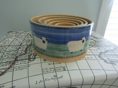 WOW Nicholas Mosse Pottery Landscape Set Of 5 Nesting Bowls Sheep Ireland RARE