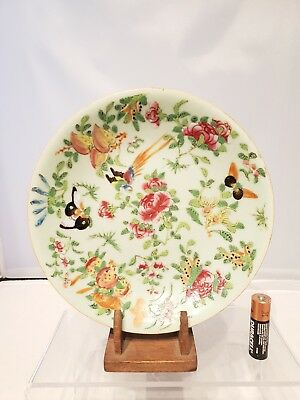 """Superb 7.5"""" 19thC Chinese Antique Famille Rose Plate Celadon Canton Qing"""
