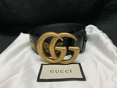 4233575db3e GUCCI Black Leather Belt With Animal Studs   GG Buckle 405626 Size 40 SOLD  OUT