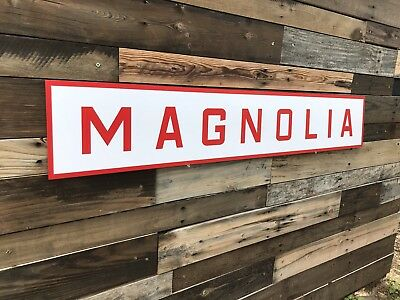 Antique Vintage Old Style Magnilia Gasoline Red Service Station Sign