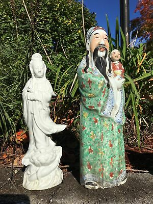 Group Of Two Chinese Antique Porcelain Guanyin Buddha Figurines
