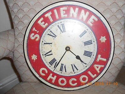 """25cm Vintage Red and White """"St. Etienne Chocolat"""" Kitchen Wall Clock"""