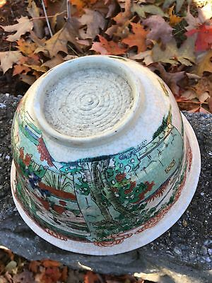 Large Chinese Republic Period Famille Verte Antique Porcelain Crackle Punch Bowl