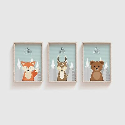 Woodland Animal Nursery Decor / Set of 3 Prints Pictures for Nursery / Kids Room